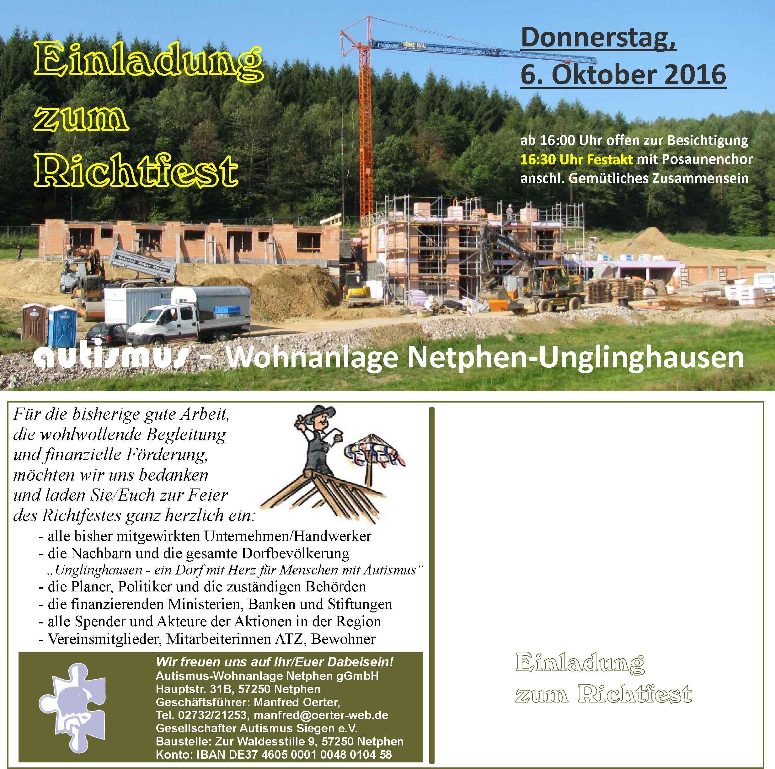 einladung zum richtfest … | unglinghausen.de, Einladung